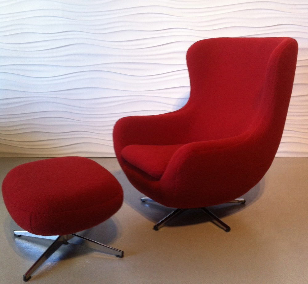 Restyled Overman Egg Chair And Ottoman Modern Chair