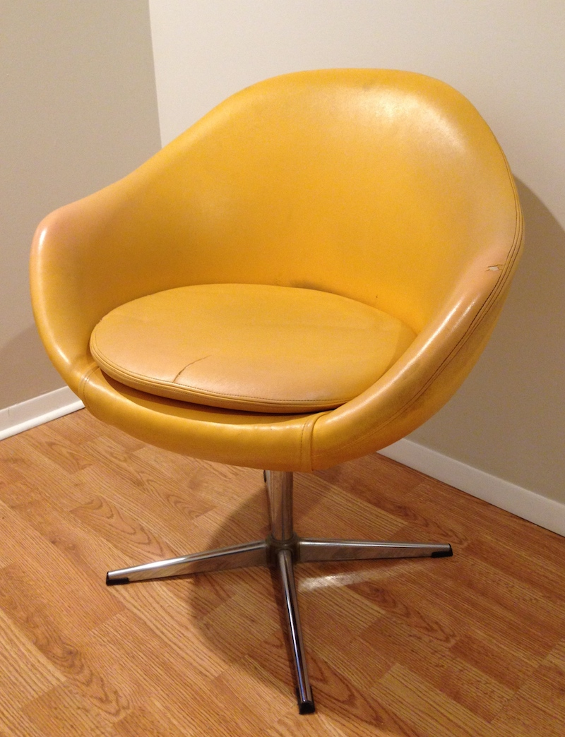 Charming This Chair Made In Sweden By Overman Has An Appealing Shape, But Boy Was  That Vinyl Tired Looking!